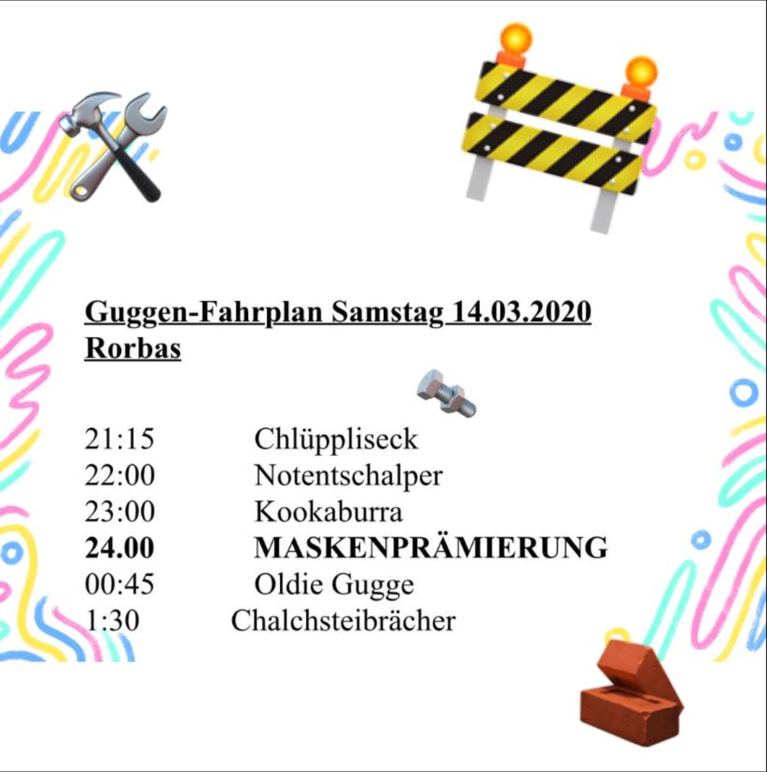 Guggen Fahrplan Samstag 14 03 2020 Rorbas